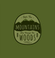 hand drawn adventure logo with mountain pine vector image vector image