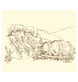 Hand made sketch grape fields and vineyards vector image vector image