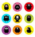 happy halloween cute monster round icon set black vector image