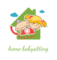Home babysitter concept with funny boy and girl vector image vector image