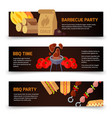 horizontal banners barbecue hamburgers and vector image vector image