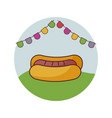 hot dog fast food with garlands in frame circular vector image vector image