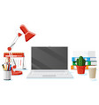 office desk with laptop vector image