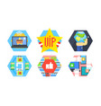 online shopping icons set delivery service e vector image vector image