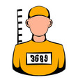 prisoner in hat with number icon icon cartoon vector image vector image