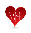 red heart sign with heartbeat line vector image vector image