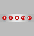 red music control buttons set vector image vector image