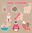 set cute kids stickers with different animals vector image