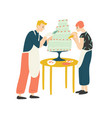 smiling man and woman decorating cake happy boy vector image vector image