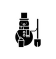 snowman black icon sign on isolated vector image