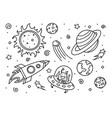 Space line art doodle