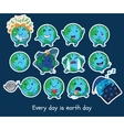 Stickers set of cute cartoon globes with different vector image vector image