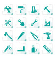 stylized building and construction work tool icons vector image vector image