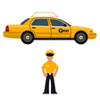 taxi car and the taxi driver vector image vector image