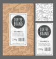template label coffee with seamless pattern vector image vector image