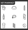 vet pharmacy outline isometric icons vector image