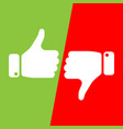 vote thumbs up icon in red and green fields make vector image