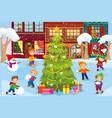 winter games on street near christmas tree vector image