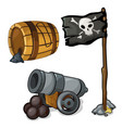 wooden barrel gunpowder cannon and pirate flag vector image