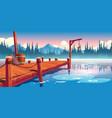 wooden pier on lake pond or river landscape vector image vector image