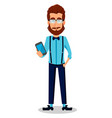 young bearded hipster man in glasses vector image