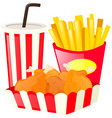 fastfood set with fried chicken and drink vector image