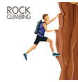 scene man climbing on a rock mountain vector image