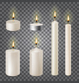 3d set realistic paraffin candles isolated on vector image vector image