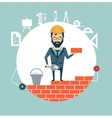 architect building a house brick by brick vector image vector image