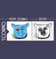 black zodiac pig scorpio vector image vector image