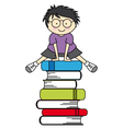 Boy jumping some books vector image