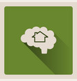 brain thinking in a house on green background vector image vector image