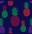 brush grunge pineapple fruits seamless pattern vector image