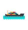 cargo ship in flat style vector image