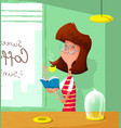cartoon cute girl drink coffee and read book vector image vector image