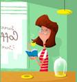 Cartoon cute girl drink coffee and read book