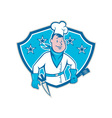 Chef Cook Star Shield vector image vector image