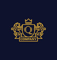 coat of arms letter q company vector image