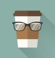 coffee cup icon with glasses vector image vector image
