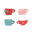 collection hot drinkcups and mugs vector image vector image