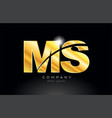 combination letter ms m s gold golden alphabet vector image vector image