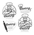 cooking vintage logo cooking class template logo vector image
