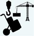 Crane working vector image