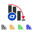 dashcoin falling acceleration chart icon vector image vector image