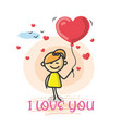 doodle cartoon figure i love you vector image vector image