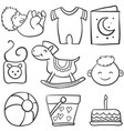 doodle of baby with ball cake vector image vector image