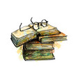 eyeglasses on top stack books vector image vector image