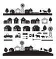 farm objects and landscape silhouette set vector image vector image