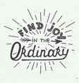 find joy in ordinary isolated on white vector image vector image