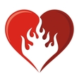 flame heart icon vector image vector image